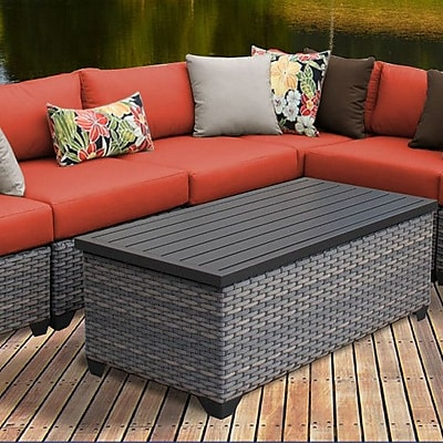 TK Classics Florence 8 Piece Rattan Sectional Set w/ Cushions; Tangerine