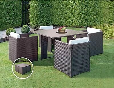 JB Patio Patio Wicker Outdoor 5 Piece Dining Set