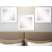 Rayne Mirrors Ava White Satin Wide Wall Mirror (Set of 3)