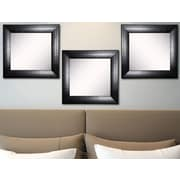 Rayne Mirrors Ava Stitched Black Leather Wall Mirror (Set of 3)