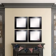 Rayne Mirrors Ava Black Wide Leather Wall Mirror (Set of 4)