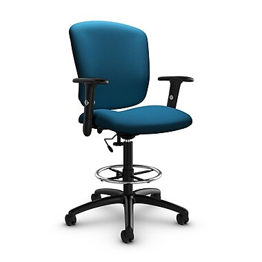 Global® (5338-6 IM76) Supra-X Drafting Task Chair, Imprint Navy Fabric, Blue