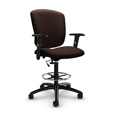 Global® (5338-6 IM80) Supra-X Drafting Task Chair, Imprint Walnut Fabric, Brown