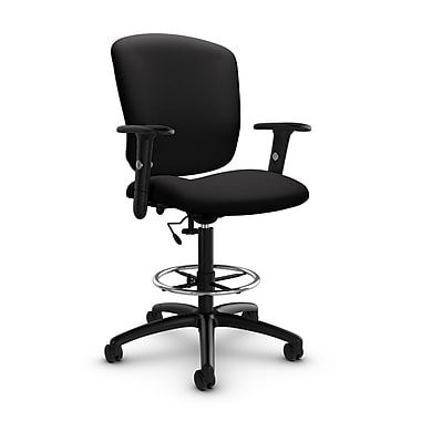 Global® (5338-6 IM84) Supra-X Drafting Task Chair, Imprint Licorice Fabric, Black