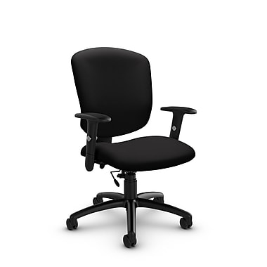 Global® (5336-6 IM84) Supra-X Task Chair, Imprint Licorice Fabric, Black
