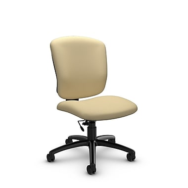 Global® (5337-6 IM70) Supra-X Armless Task Chairs, Imprint Almond Fabric, Tan
