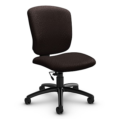 Global® (5337-6 MT28) Supra-X Armless Task Chair, Match Chocolate Fabric, Brown