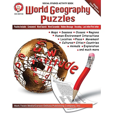 eBook: Mark Twain 404133-EB World Geography Puzzles, Grade 6 - 12