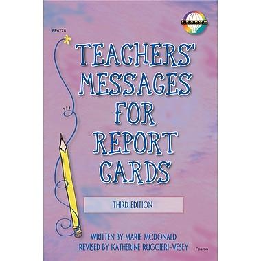 Livre numérique : Fearon� -- Teachers' Messages for Report Cards 0768224551-EB, maternelle à 8e année