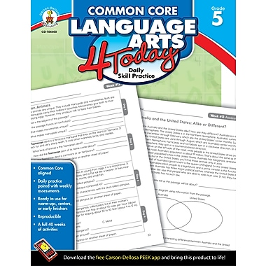 eBook: Carson-Dellosa 104600-EB Common Core Language Arts 4 Today, Grade 5