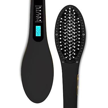 Haute Brush (HG-HAUTE-1-BK) Electric Instant Hair Straightener, Matte Black, English