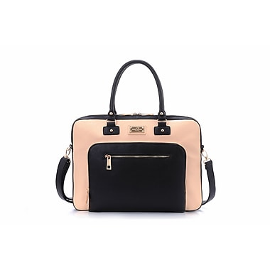 Sandy Lisa London Shoulder Bag, Cream/Black, Fits up to 14.1