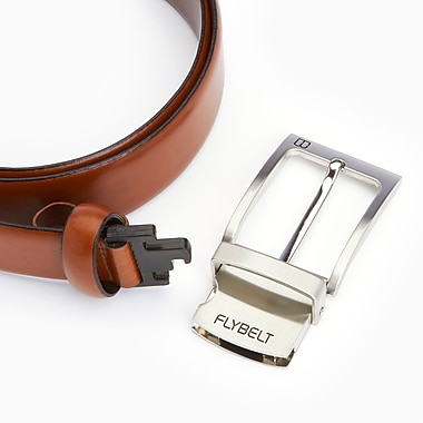 Royce Airport Security Checkpoint Friendly Belt with Detachable Chrome Buckle, Waist Size 34