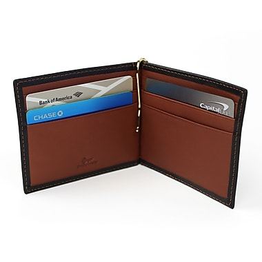 Royce RFID Blocking Money Clip Credit Card Wallet in Genuine Leather, Black/Tan