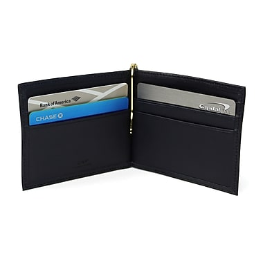 Royce RFID Blocking Money Clip Credit Card Wallet in Genuine Leather, Blue