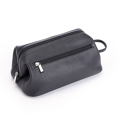Royce Toiletry Travel Wash Bag in Pebbled Genuine Leather, Black