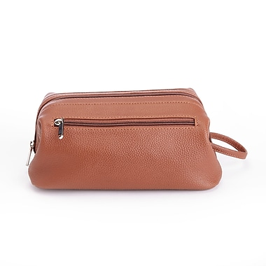 Royce Toiletry Travel Wash Bag in Pebbled Genuine Leather, Tan