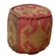Divine Designs Wool Jute Round Pouf Ottoman