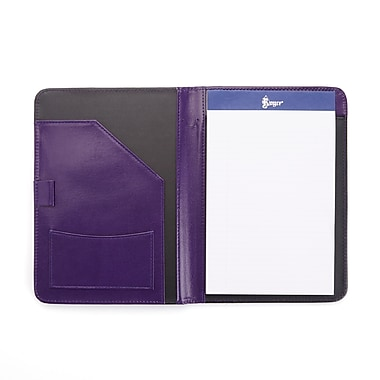Royce Compact Writing Portfolio Organizer in Genuine Leather, Plum