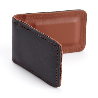 Royce Magnetic Money Clip Handcrafted in Genuine Leather, Black/Tan