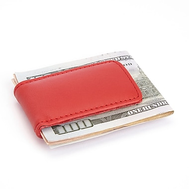 Royce Magnetic Money Clip in Genuine Leather with Suede Lining, Red