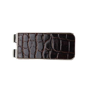 Royce Leather – Pince à billets de luxe en cuir d'alligator véritable, fabriqué à la main aux É.-U., brun