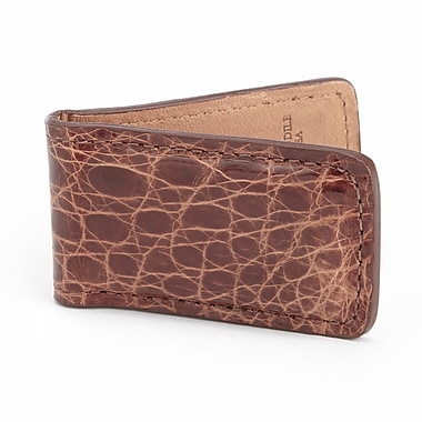 Royce Luxury Magnetic Money Clip Wallet, Handcrafted in Genuine Crocodile, Brown