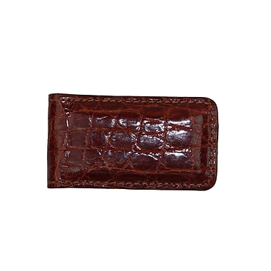 Royce Luxury Magnetic Money Clip Wallet, Handcrafted in Genuine Crocodile, Cognac
