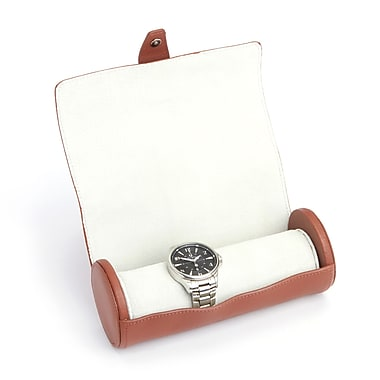 Royce Suede Lined Luxury Travel Watch Wall Storage, Handcrafted in Genuine Leather, Tan