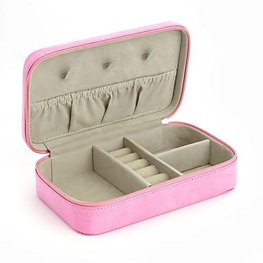 Royce Travel Jewelry Storage Case in Pink Leather in Support of Breast Cancer Research & Support