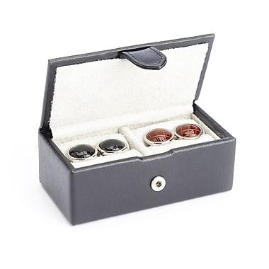 Royce – Boîte de rangement de voyage pour boutons de manchettes avec doublure en suède, fait de véritable cuir Saffiano