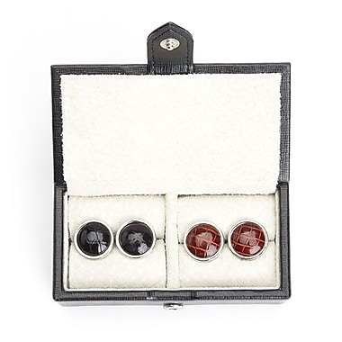 Royce Suede Lined Travel Cufflink Storage Box in Saffiano Genuine Leather, Fits 2 Pairs