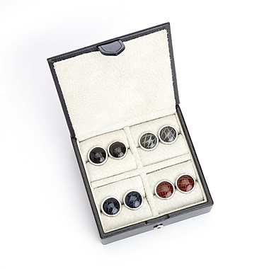 Royce Suede Lined Travel Cufflink Storage Box in Saffiano Genuine Leather, Fits 4 Pairs