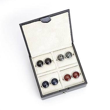 Royce – Étui de voyage pour boutons de manchettes avec doublure en suède, fait de véritable cuir Saffiano, pour 4 paires