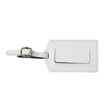 Royce Luxury Travel Luggage Tag in Genuine Leather, White