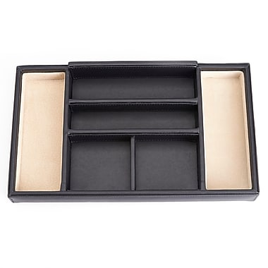 Royce Dresser Valet Tray with Suede Lining, Black