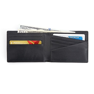 Royce 100 Step Wallet Men's Slim Bifold Wallet Handcrafted in Genuine Leather with RFID Blocking Technology, Black
