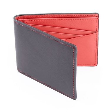 Royce 100 Step Wallet Men's Slim Bifold Wallet Handcrafted in Genuine Leather with RFID Blocking Technology, Black/Red