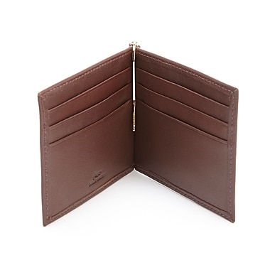 Royce RFID Blocking Money Clip Credit Card Wallet in Genuine Leather, Coco