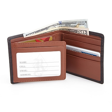 Royce RFID Blocking Men's Bifold Wallet in Genuine Leather with Double ID Display, Black/Tan