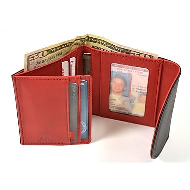 Royce RFID Blocking Women's Compact Trifold Wallet in Genuine Leather, Black/Red