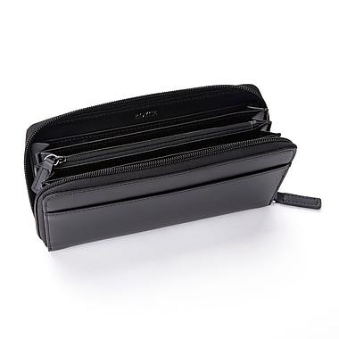 Royce – Pochette-portefeuille continental anti-RFID, fabriquée à la main en cuir véritable, noir