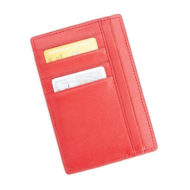 Royce RFID Blocking Slim Travel Passport Wallet in Saffiano Genuine Leather, Red