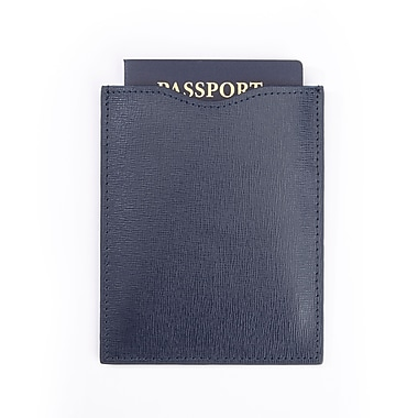 Royce RFID Blocking Passport Sleeve in Saffiano Leather, Blue