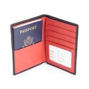 Royce Leather RFID Blocking Bifold Passport Currency Travel Wallet (RFID-222-BLRD-5)