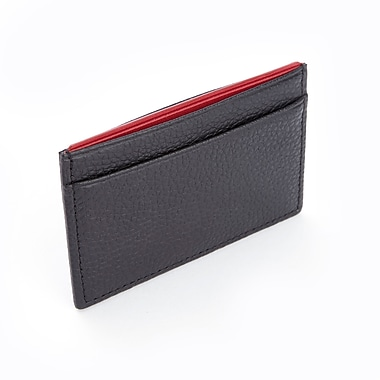 Royce Luxury Genuine Leather Credit Card Wallet with RFID Blocking Technology for Identity Protection, Black/Red
