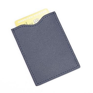 Royce RFID Blocking Credit Card Sleeve in Saffiano Genuine Leather, Blue