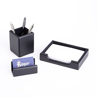 Royce Luxury Genuine Leather Desk Set: Pen Cup, Note Tray & Business Card Holder Lined w/Genuine Suede, Black