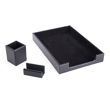 Royce Luxury Genuine Leather Desk Set: Pen Cup, Letter Tray and Business Card Holder Lined with Genuine Suede, Black