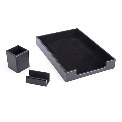 Royce Leather Genuine Leather Pen Cup Organizer, Letter Tray and Business Card Holder (RL-OFFICE-3)